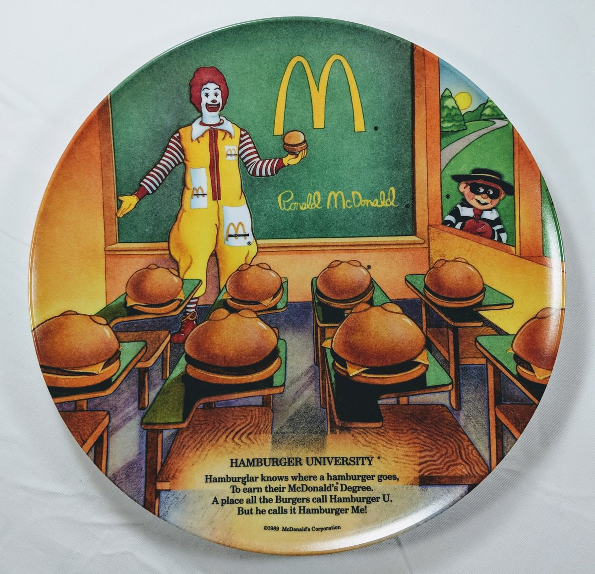 1989 McDonald/'s Plate-Hamburger University VINTAGE