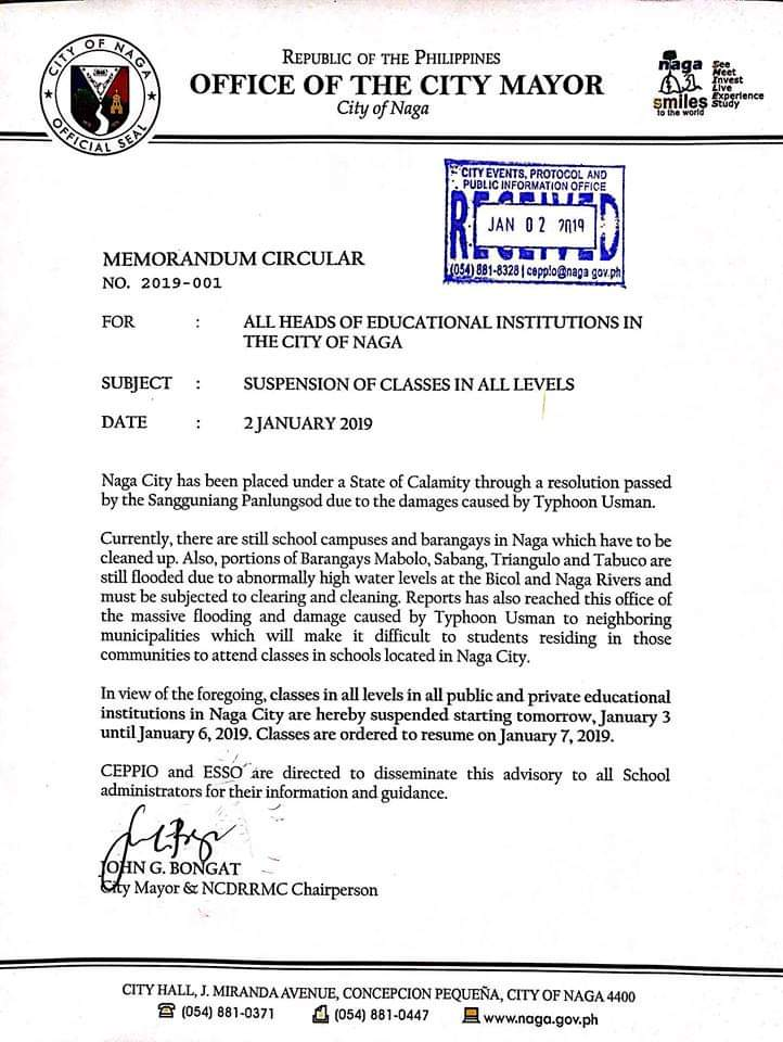 Mayor John Bongat Classes In All Levels Public And Private In
