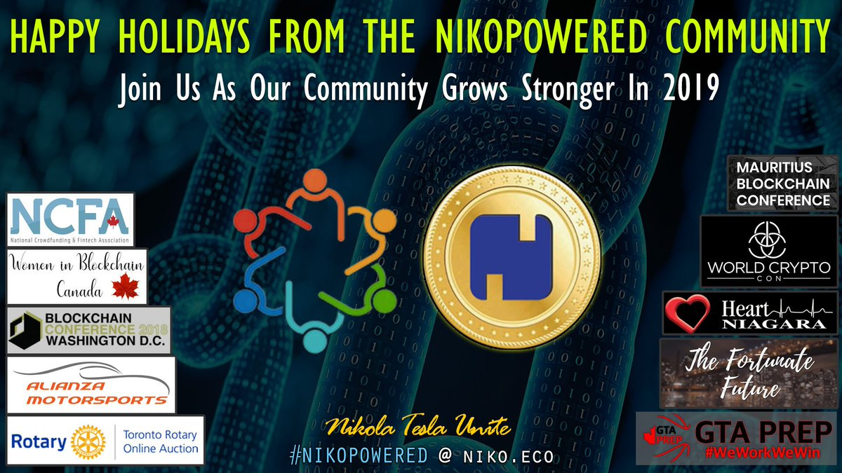 Happy Holidays from the #NikoPowered community. Health, wellness and prosperity for 2019. Big news is coming, do not miss out. Join us and become part of our story.  #HappyNewYear2019 #CryptoCurrency #Blockchain #Altcoins #CryptoNews #Retweet