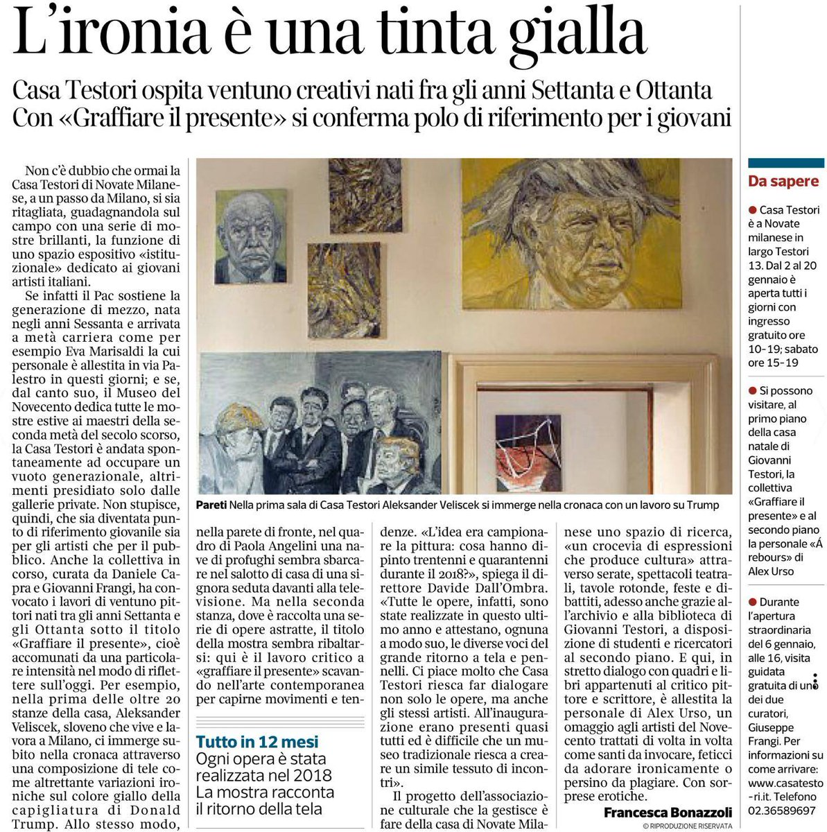 Grazie a @FBonazzoli e @corrieremilano per l'articolo su #GraffiareIlPresente ospitata a @CasaTestori con 21 artisti che su occupano di pittura in italia. La mostra è curata da @robedachiodi e #DanieleCapra #ArteContemporanea #pittura #curatore