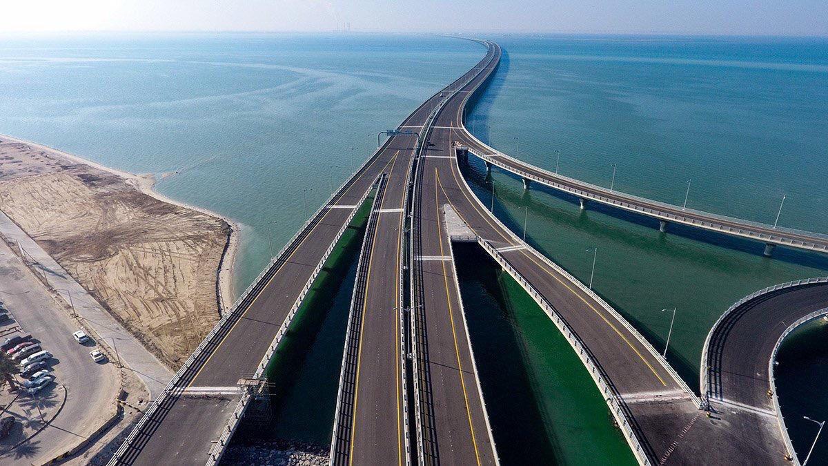 """افتتاح الجزء البري من جسر الشيخ جابر """"وصلة الدوحة""""  #رؤية_2035 #كويت_جديدة https://t.co/iDGuBsNUhy"""