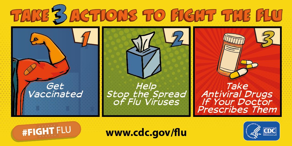 The #NewYear is here and so is #fluseason! Take 3 steps to #FightFlu.  1️⃣ Get your #flu vaccine! It's not too late. 👨⚕️ 2️⃣  Take everyday preventive actions to stop the spread of germs. 👐  3️⃣  Take antiviral drugs to treat flu, if prescribed to you. 💊    https://t.co/SFkRXTqo2E