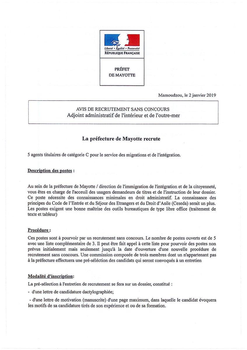 Préfet De Mayotte A Twitter Avis De Recrutement Sans