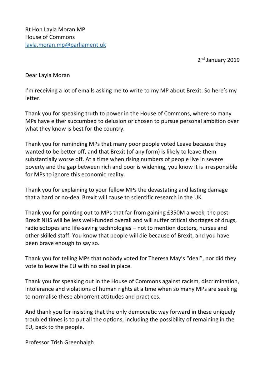 Trisha Greenhalgh Peoplesvote On Twitter Ive Written To My Mp