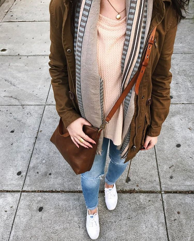 white sneakers + cozy layers. Shop