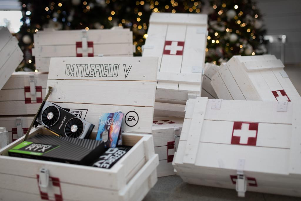Kick off 2019 with the ultimate #Battlefield playing experience. 🔁 RT this post and you might just get dropped this LOADED Medical Crate containing an RTX 2080 Ti, Battlefield V, GeForce swag, and more.
