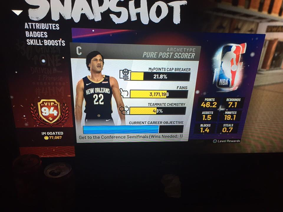94 OVR PURE POST SCORER FOR SALE .. HAS MOST BADGES MAXED #nba #ps4 #VipAccount REAL BUYERS ONLY NO PRICERS🖍