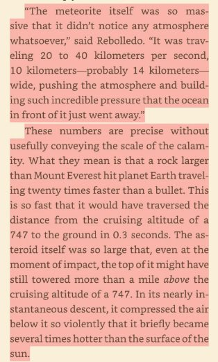 This description of the asteroid that killed the dinosaurs is probably the best piece of writing I've read in a while. That was beautiful.