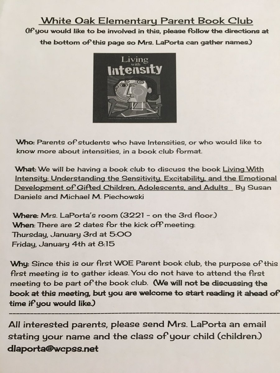 Happy 2019 WOE families! Just a friendly reminder that our parent book club information meeting will be tomorrow (Thursday) at 5 and Friday morning at 8:15 in room 3321. I hope to see you there!