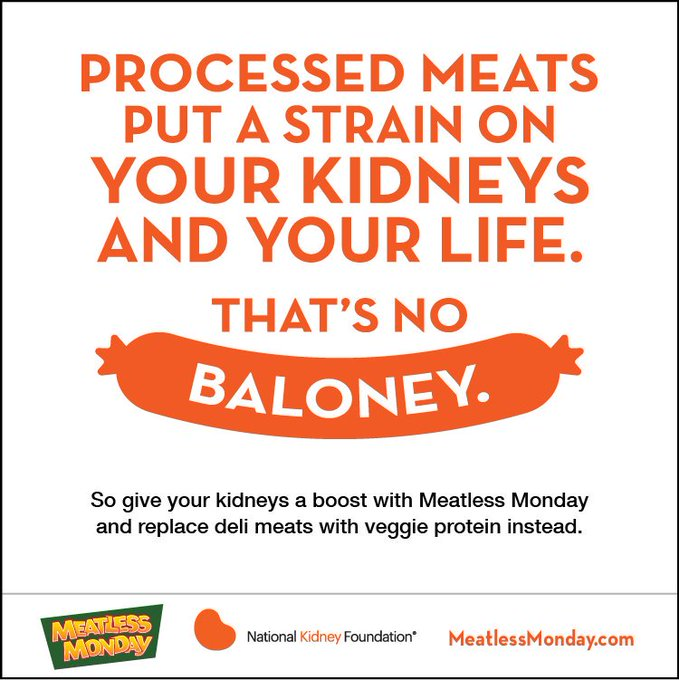 Give your kidneys a boost with Meatless Monday and replace deli meats with veggie protein instead. #MeatlessMonday Photo
