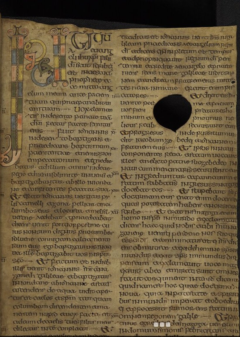 New beginnings! @StephanieLahey had a wonderful tweet with beautiful Beginnings from insular gospel books. But Dáibhí Ó Cróinín reminded us at #MSSinASK *oldest* insular gospel book messed up its beginning, writing INITI-ti-um instead of just INITium