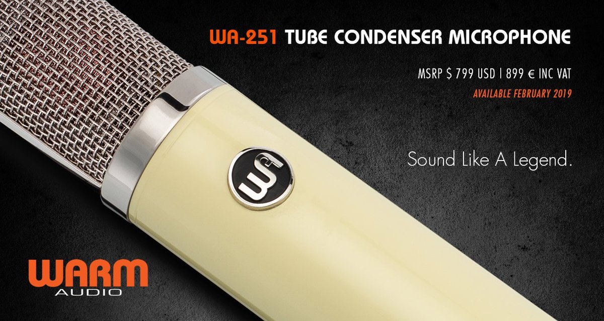 NEW PRODUCT ANNOUNCEMENT! INTRODUCING THE WA-251 TUBE CONDENSER MICROPHONE $ 799 USD | 899 € INC VAT Available February 2019! https://warmaudio.com/wa-251/  #warmaudio #teamwarm #wa251 #tubecondensermicrophone #tubemic #condensermicrophone