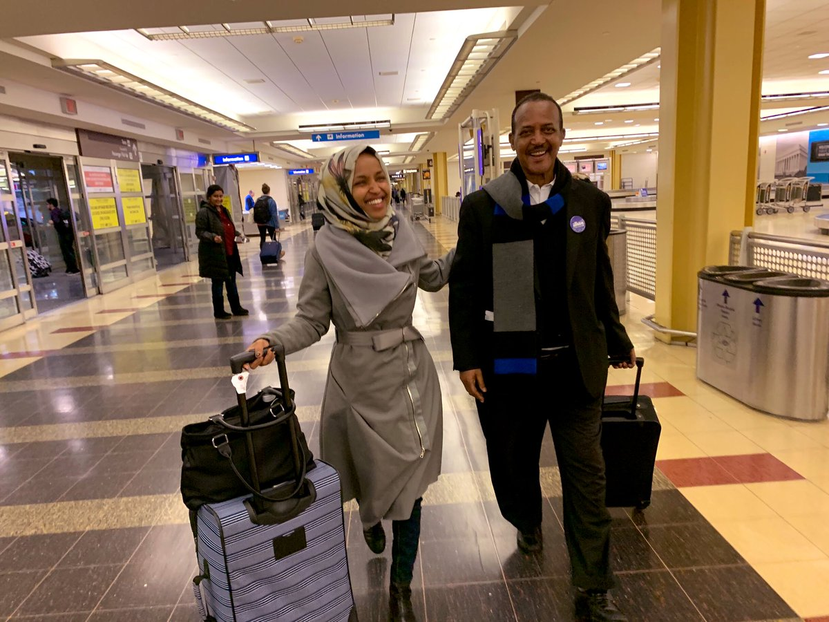 23 years ago, from a refugee camp in Kenya, my father and I arrived at an airport in Washington DC.   Today, we return to that same airport on the eve of my swearing in as the first Somali-American in Congress.   #Hope #Ilhan 🙏🏾