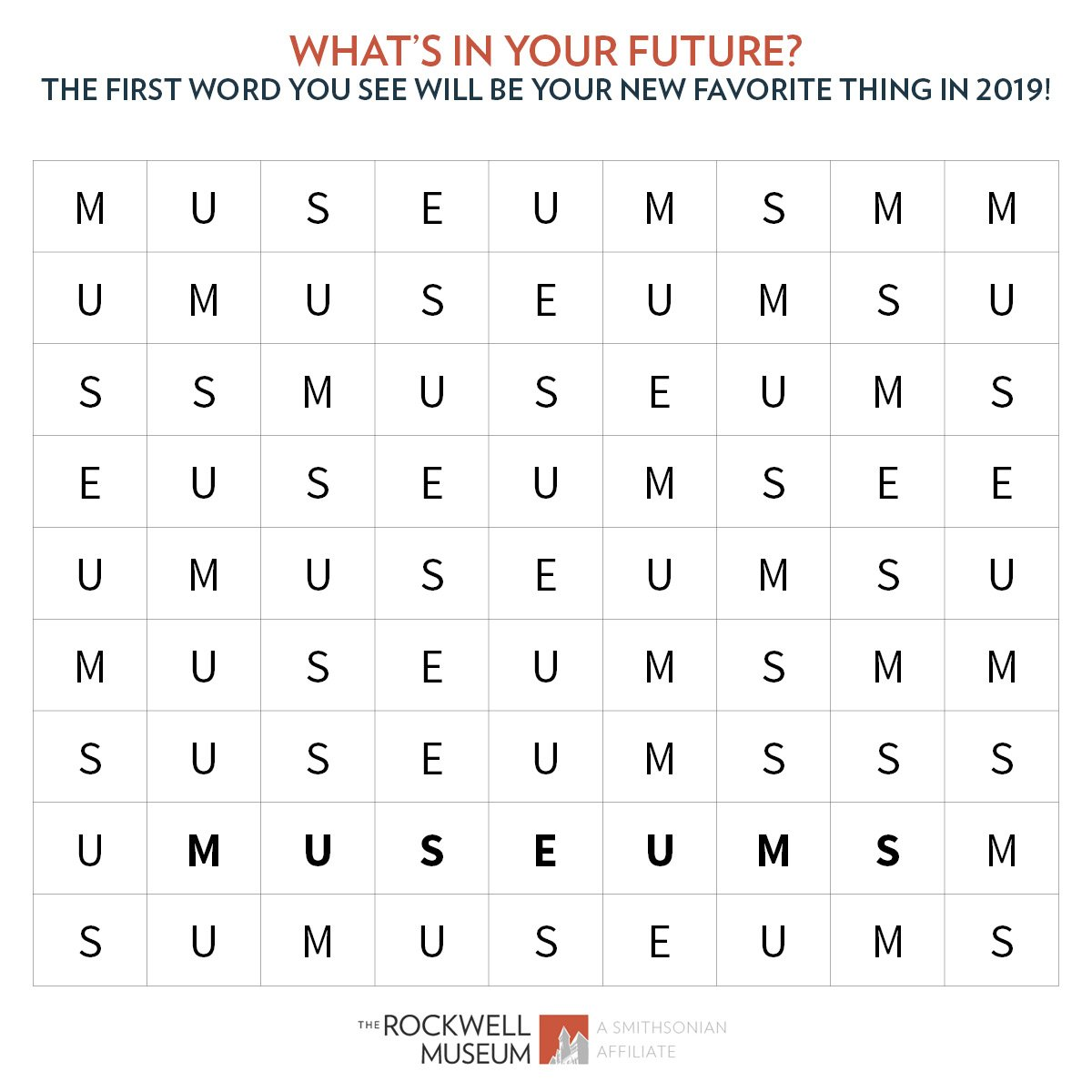 They say the first thing you see in this word search will be your new  passion in 2019 - check it out and tweet us your answers!