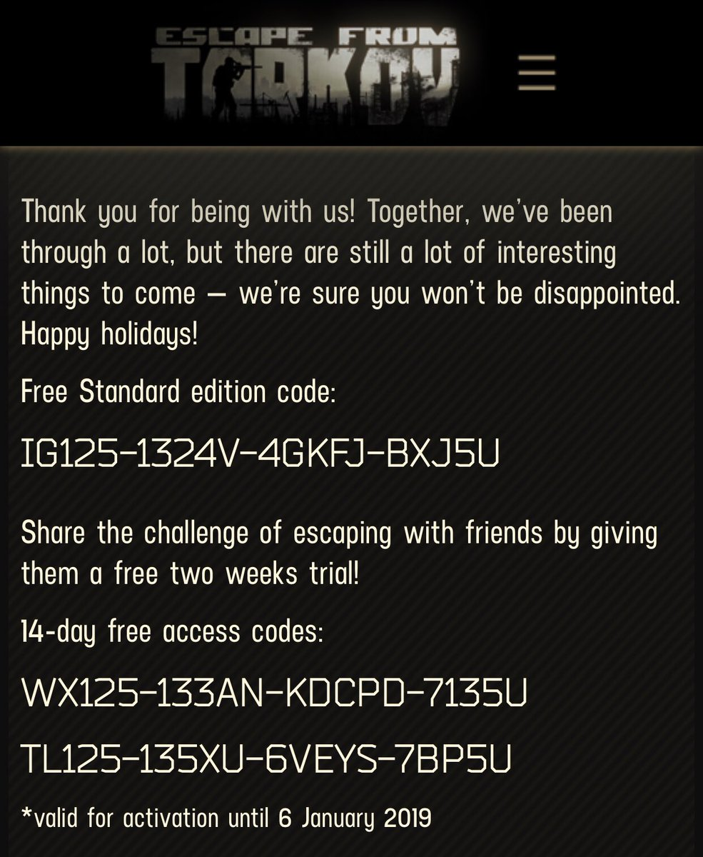 escape from tarkov activation key free