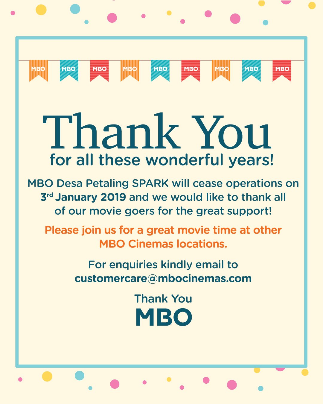 Mbo Cinemas On Twitter Dear All Kindly Take Note On Below Mbo Desa Petaling Spark Has Ceased Operations From Today 3rd January 2018 Thank You Https T Co Z4nfxc6tni