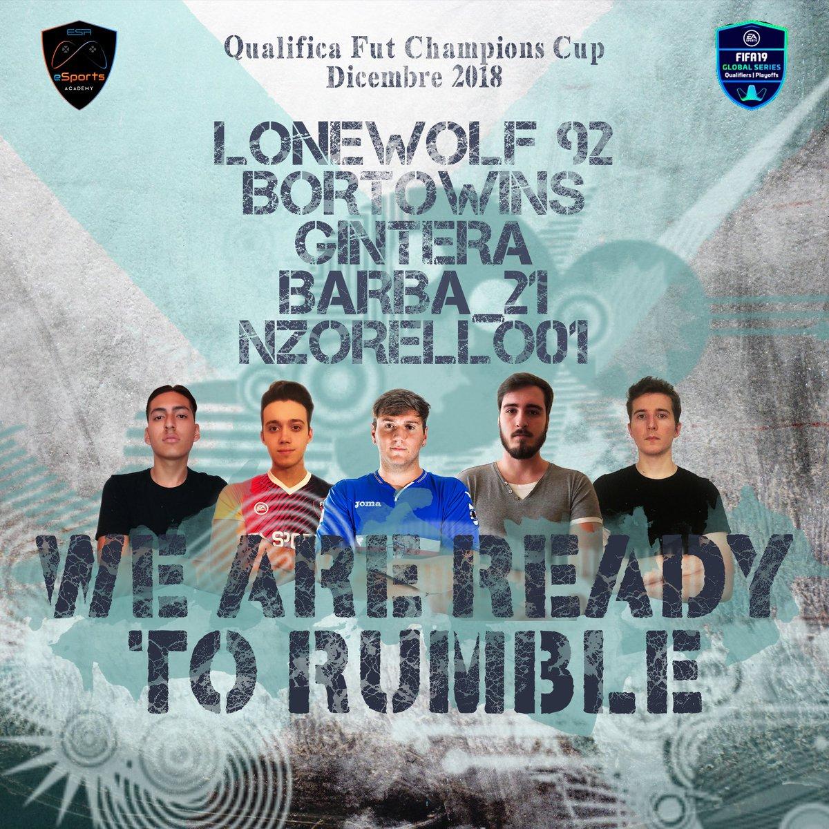 #futchampions cup Oggi i nostri @parave_renzo @bortowins @Lonewolf92Fifa @gintera96 @Barba__21 @Miche_Tangredi saranno impegnati nella qualifica alla Fut Champions Cup! Noi siamo pronti e tu?