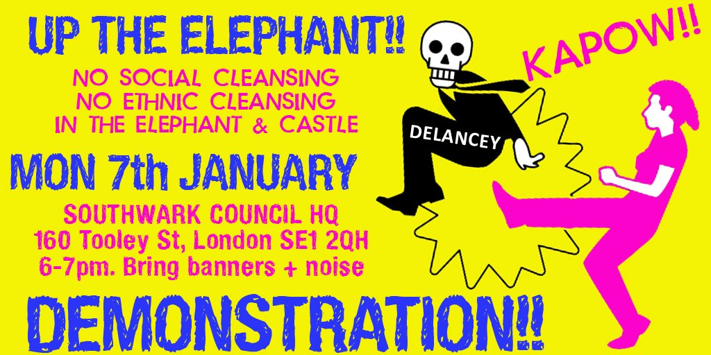 Up The Elephant community campaigns still rocking local resistance to Delanceys plans for The Elephant @UpTheElephant_ @LatinElephant @35percent_EAN 1: Petition - please sign & forward: change.org/p/johnson-situ… … 2: Demo Mon 7th January! All welcome!