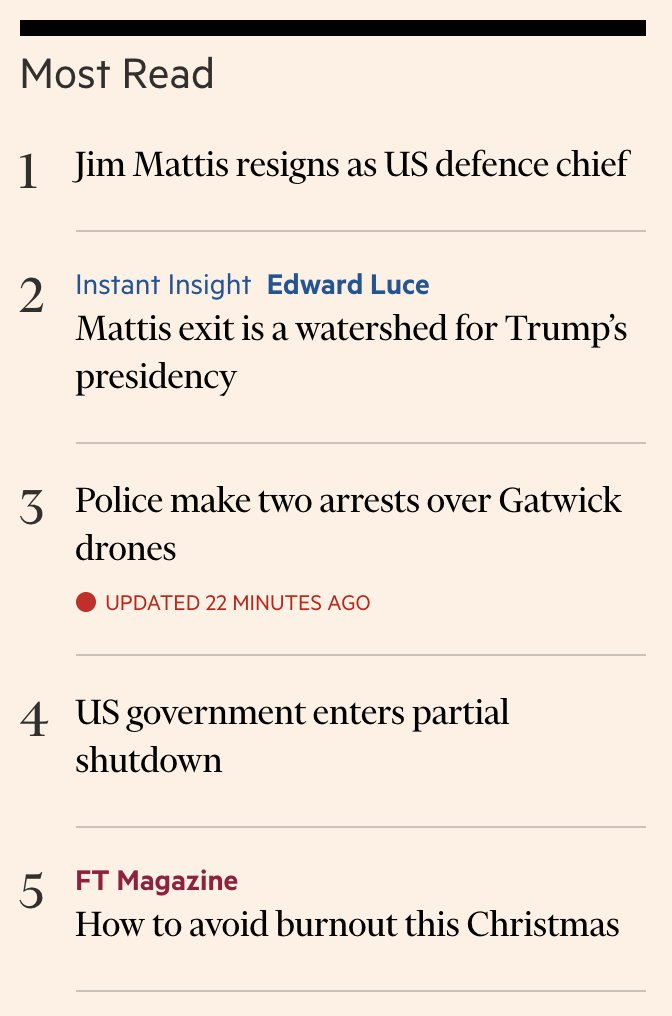 Checking out the Top 5 most read pieces on the @FT gives you a sense of the current mood...