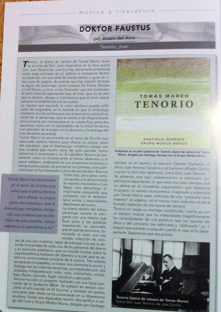 """RT @SantiagoSerrate La Revista Ritmo califica nuestra grabación del TENORIO de Tomás Marco de """"impecable versión discográfica""""!"""