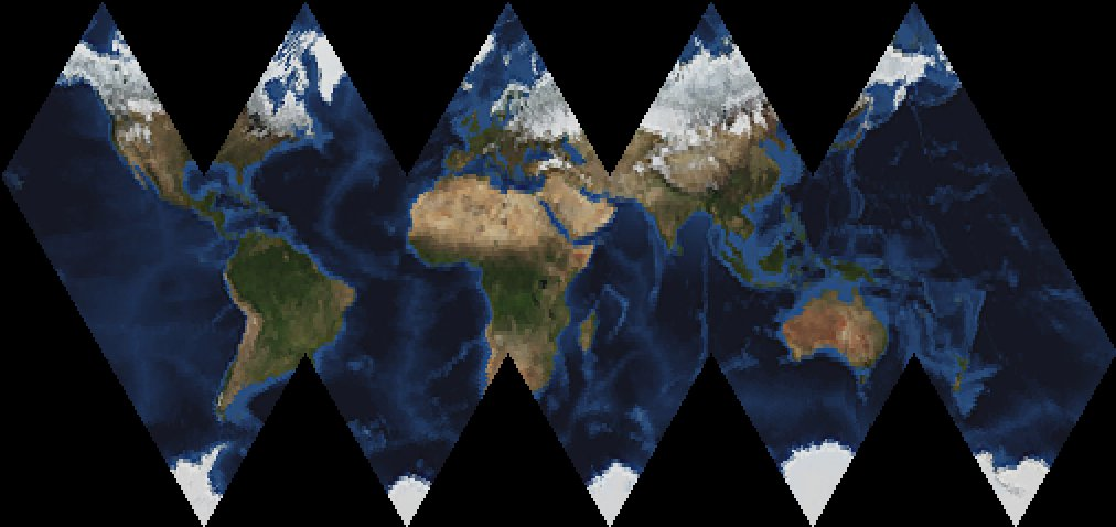 This just worked on the first try. Icosahedral projection.