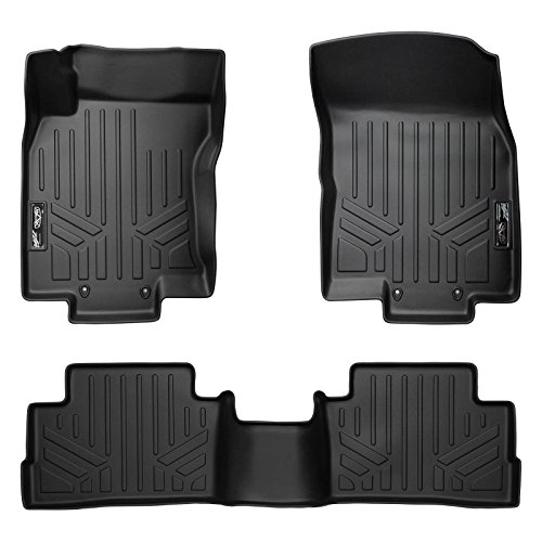 SMARTLINER Floor Mats 3 Rows and Cargo Liner Behind 3rd Row Set Black for 2018-2019 Chevrolet Traverse with 2nd Row Bucket Seats