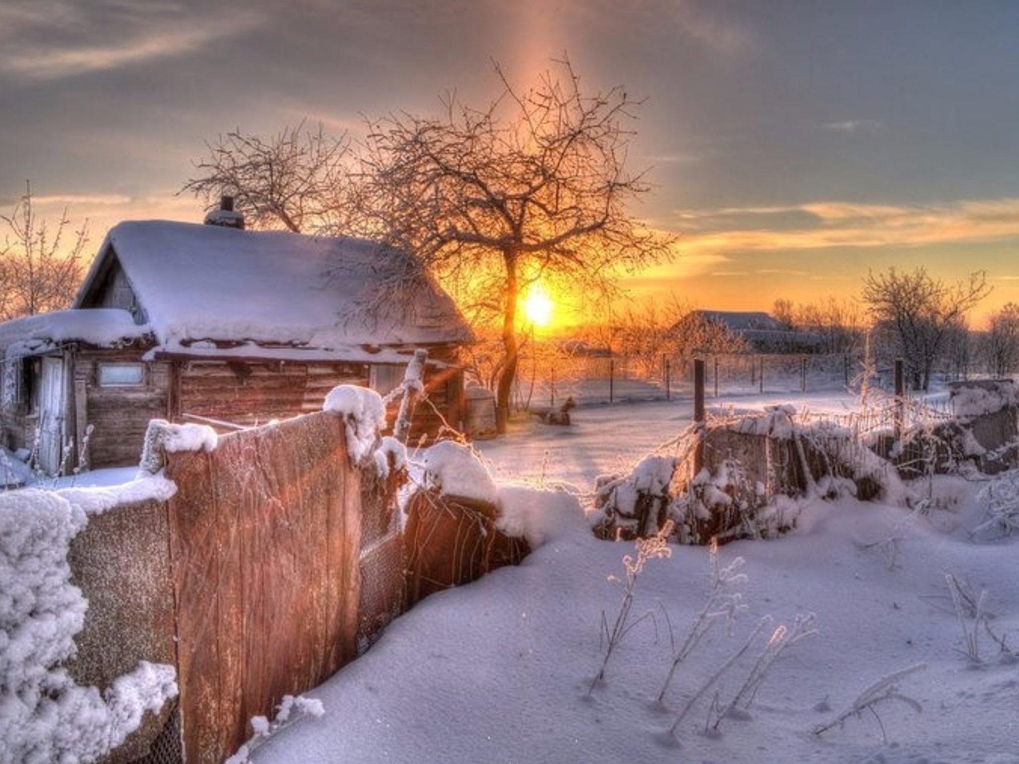 Картинки зима в деревне, картинки