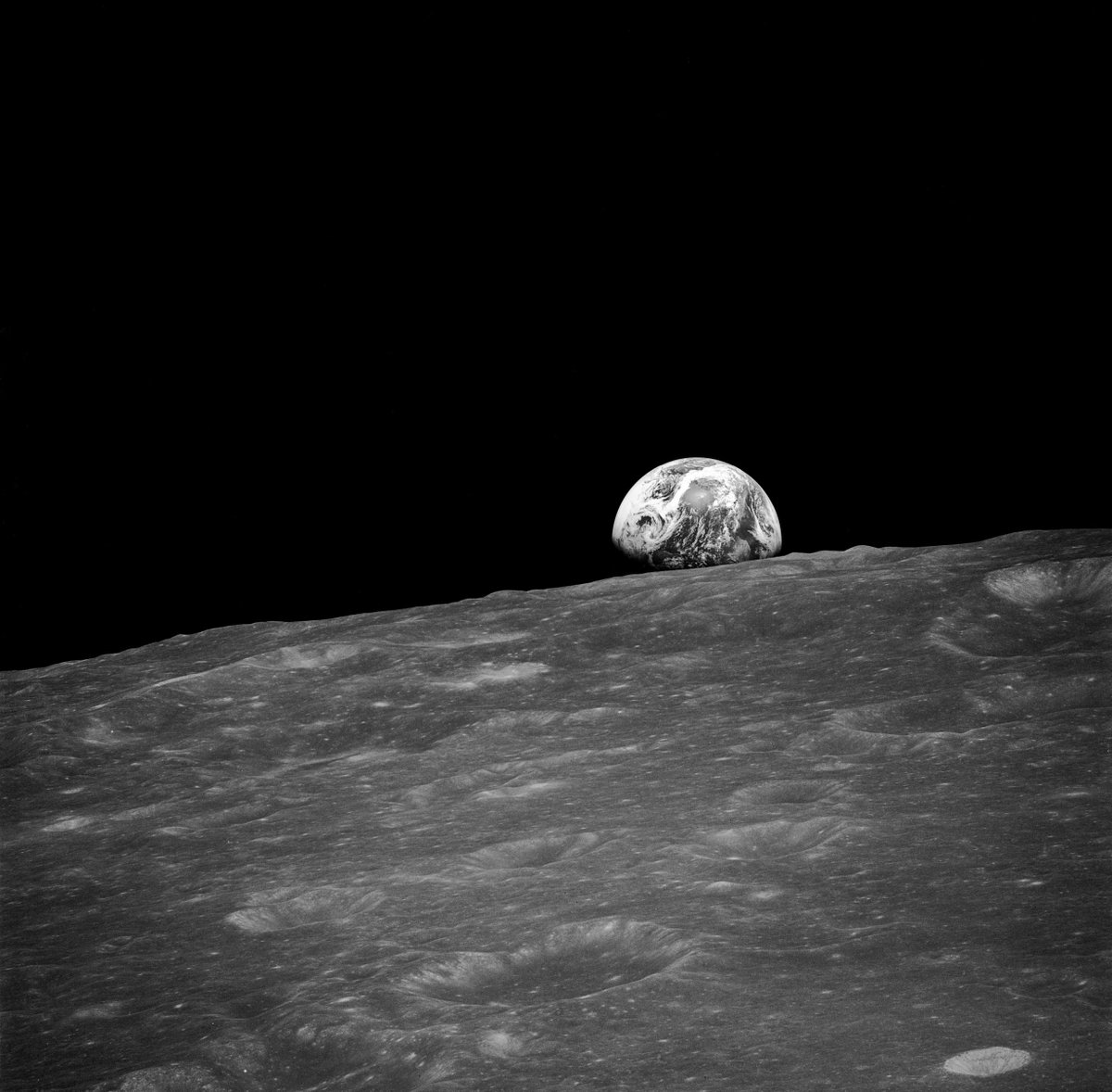 #Apollo 8 is known for the iconic Earthrise photo. But did you know that that image wasn't the first? Just minutes before taking the color photo we know today, Anders took this with a black and white camera. #Apollo88#Apollo50 50