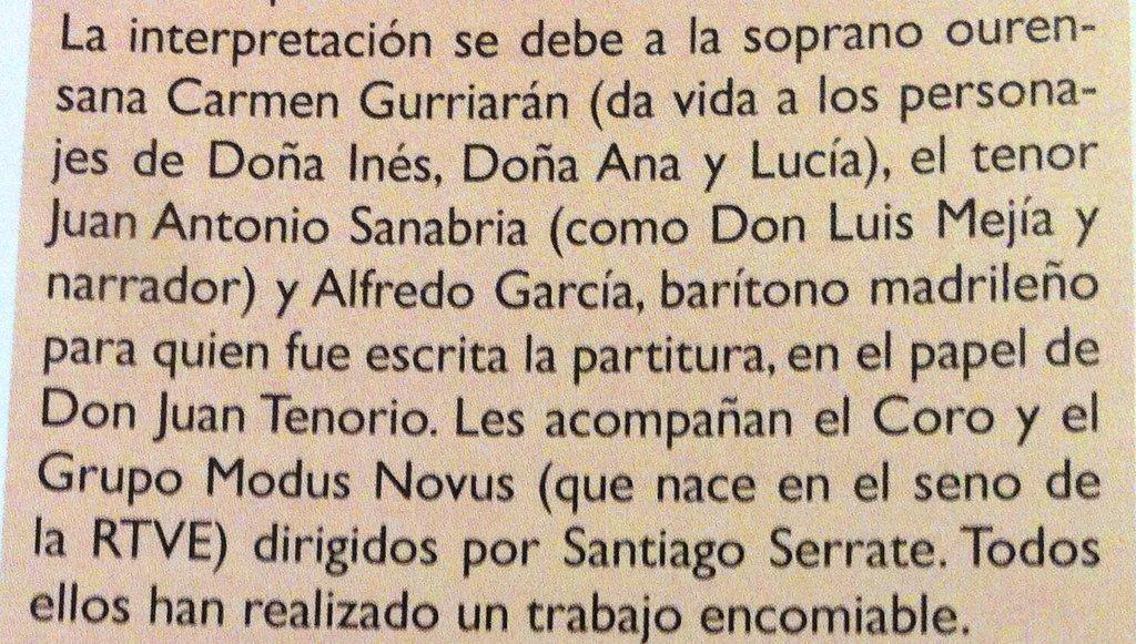 RT @SantiagoSerrate La revista @melomanodig nos otorga 4 estrellas a la grabación del TENORIO de Tomás Marco. Un buen regalo para hacer!