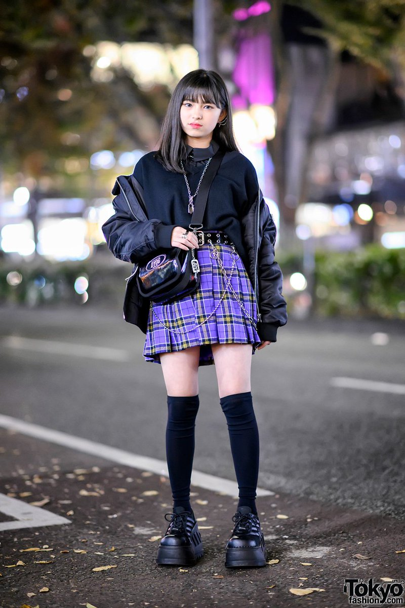 6017edf68 14 year old japanese student yurian on the street in harajuku wearing an  oversized bomber jacket