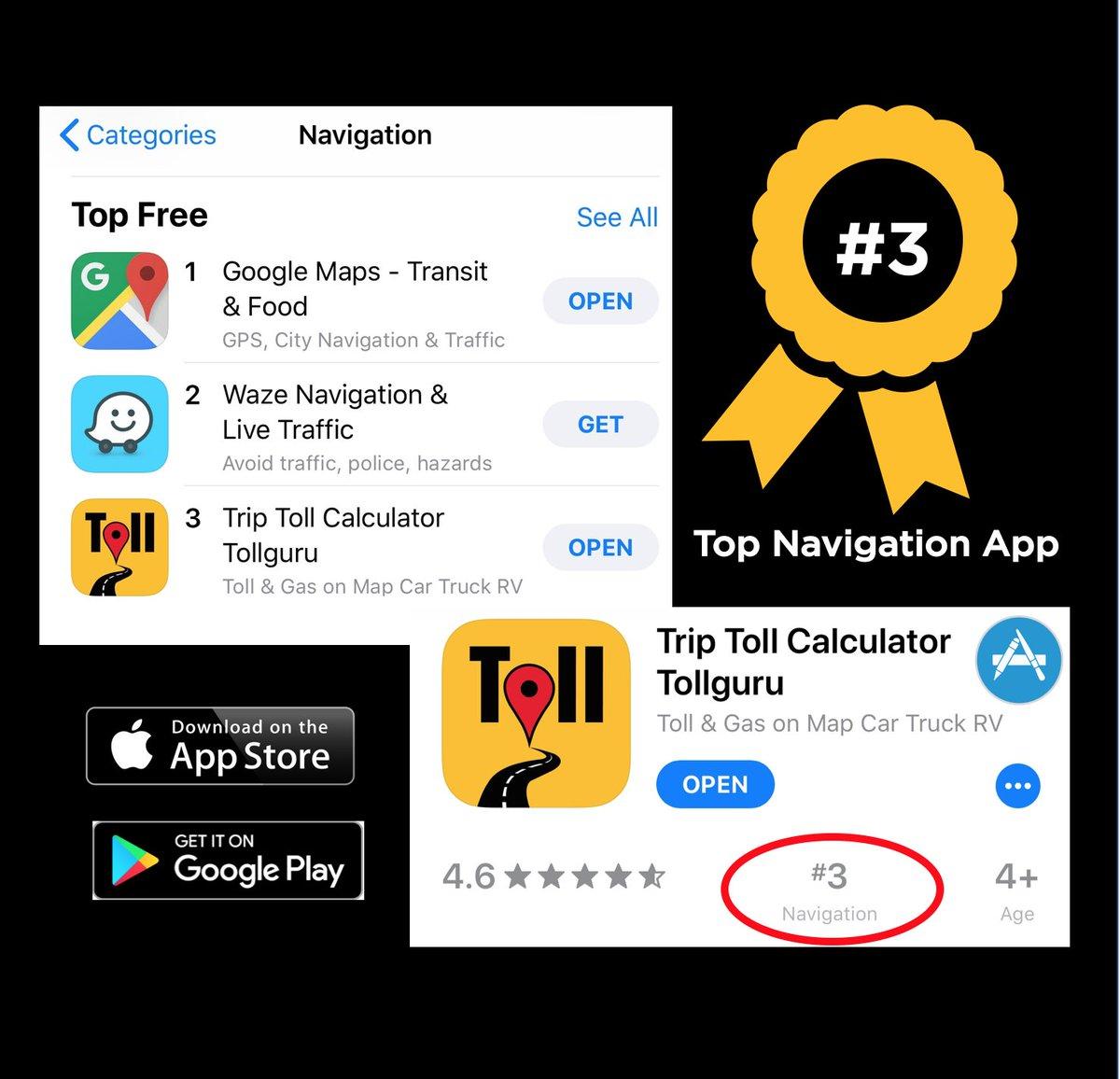 TollGuru ranked top #3 in @AppStore Navigation apps