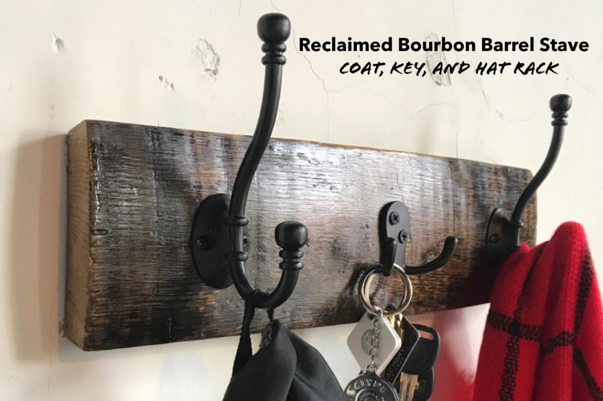 This authentic hand crafted Bourbon Barrel Stave Oak Coat, Key, and Hat Rack has served its purpose, starting as virgin American Oak, charred and then filled with clear liquid to spend years atop the Rick house aging a fine Bourbon.  goo.gl/PYtYkS
