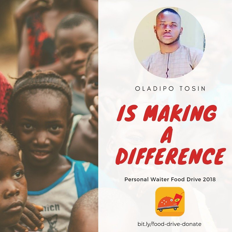 Oladipo Tosin is making a difference  You can make a difference  #PersonalWaiterAtOne  #OneCanMakeADifference  #PersonalWaiterFoodDrive #AbeokutaTwitterHangout<br>http://pic.twitter.com/zJDEib8D4G