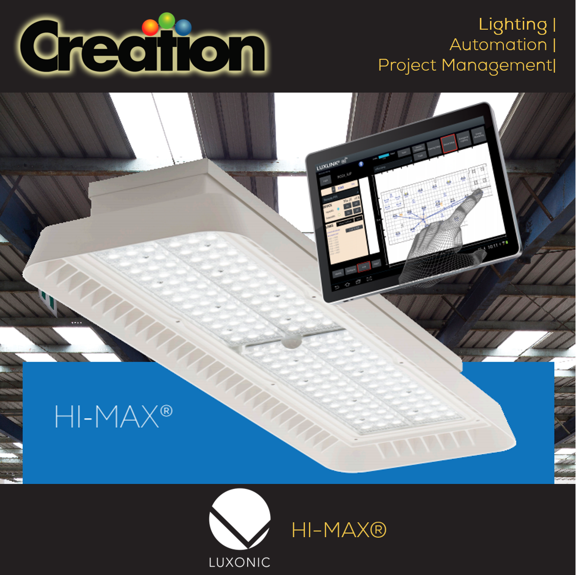 The #HI_MAX LED luminaire by #Luxonic is a high #efficiency aluminium diecast #HighBay #luminaire with light output options. Its #LED life is 60,000hrs and its control gear life is of 100,000hrs. Suitable for mains voltage peaks & has a #5Year #warranty. https://goo.gl/px6z2k