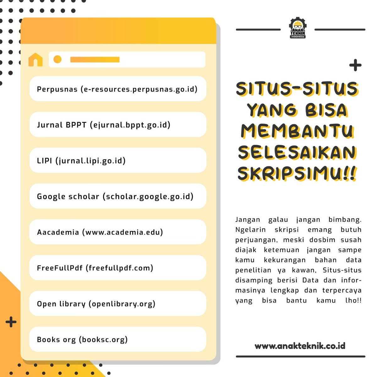Anak Teknik Indonesia V Twitter Untuk Para Mahasiswa Semester Akhir Selamat Berlibur Dengan Skripsi Yaa Wkwk Nih Admin Kasih Tau Situs Jurnal Jurnal Yang Bisa Kamu Jadikan Acuan Buat Skrisimu Https T Co Nr1u839mdj