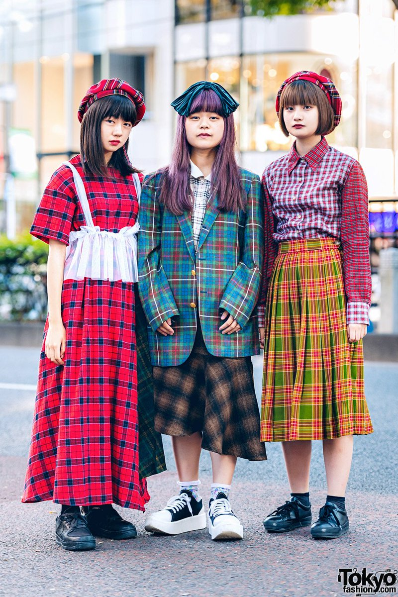 6acbc075b japanese high school students yui hinako and rion on the street in harajuku  wearing mixed plaid
