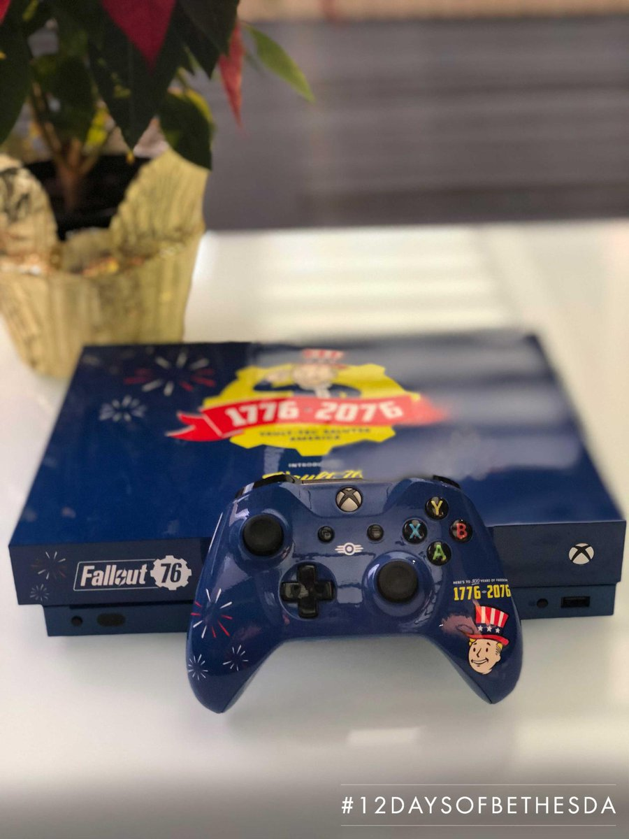 On the second-to-last day of #12DaysofBethesda, take a break from the holidays and celebrate the tricentennial instead.  Follow @Fallout & RT this tweet for the chance to own this custom #Fallout76 Tricentennial Xbox One X!  Rules are here: https://t.co/tEH3oDFELO https://t.co/kuOREeZdoB