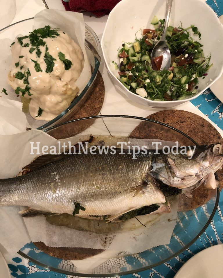 An amazingly tender Mediterranean flavored oven baked stuffed sea bass recipe for the lovers of the Sea Bass!   #seabass #seabasswithgreens #fish #bass #seafood #seafoodlover #dinner #omega3 #vitamind #seafooddinner #mediterraneanseafood #healthnewstips