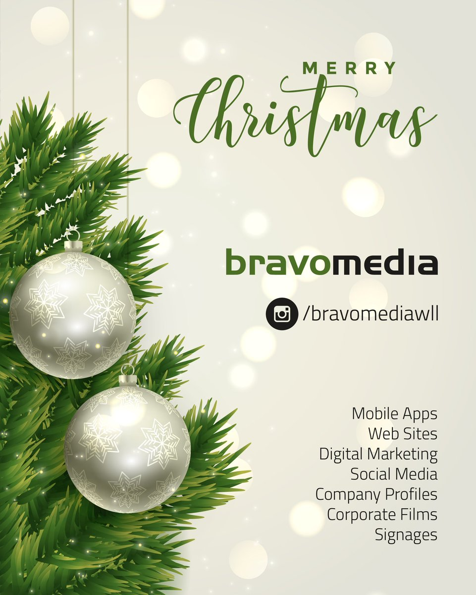 BECAUSE OF YOU, EVERY #CHRISTMAS AT #BRAVOMEDIAWLL IS NICER THAN THE LAST. YOU HELP MAKE US A BETTER COMPANY. #MERRYCHRISTMAS TO YOU AND YOURS. #sidehustle #Bahrain #Saudi #MobileApp #StartupBahrian #BahrainFintech #socialmedia https://t.co/MaCIkv1YhE