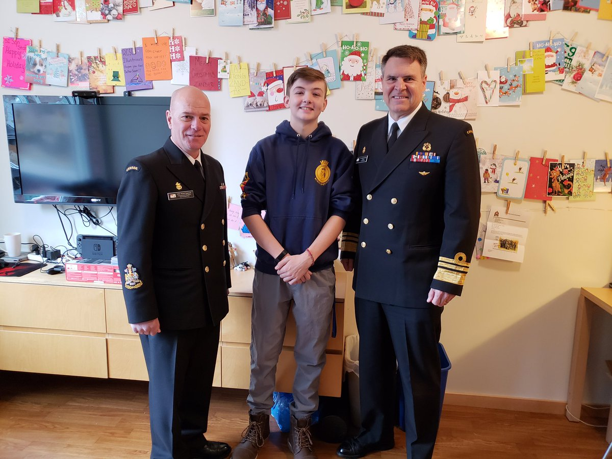 The holidays are all about family. Mike and I stopped by Sick Kids Hospital in Toronto to visit Sea Cadet, Master Seaman Zander Power from Shearwater, NS. Zander, your extended Navy Family is thinking about you over the holiday season and we all wish you a speedy recovery.