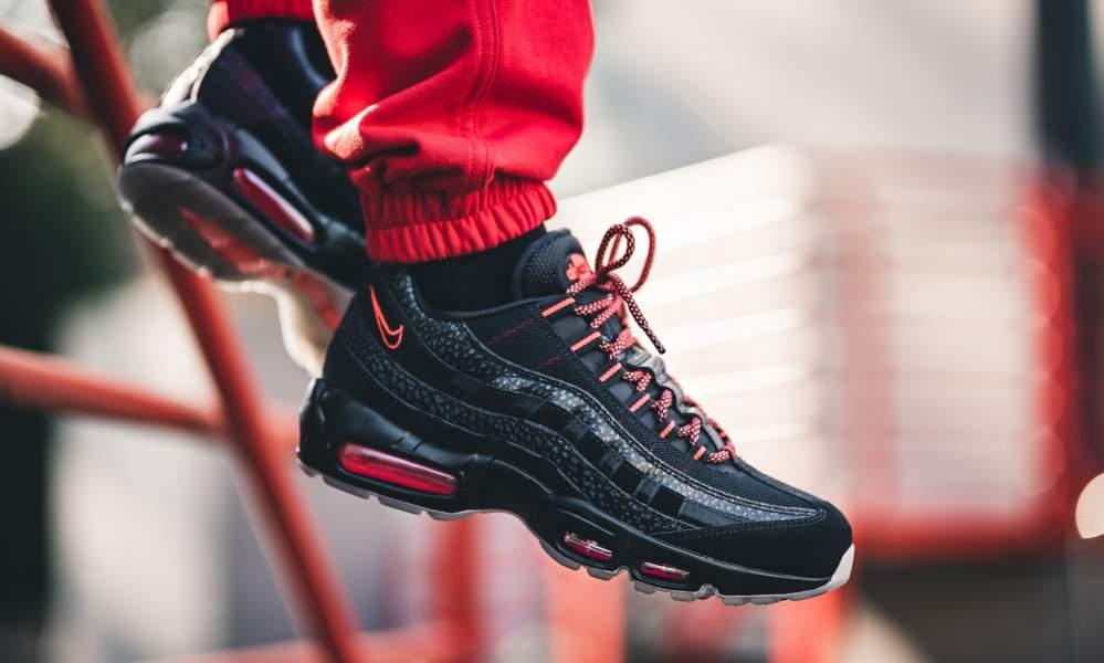 9597a43c22 Black/Infrared Nike Air Max 95 'Keep Rippin Stop Slippin' on sale for  $114.73 + FREE shipping, use code SAVE25 => http://bit.ly/2R7rtP6  pic.twitter.com/ ...