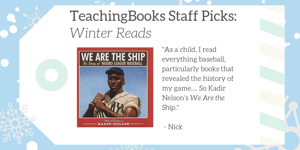 "test Twitter Media - We asked TeachingBooks Staff, ""What would you read over winter break if you were a kid?""  Nick picked We Are the Ship! Watch the author talk about creating it at https://t.co/xp9w0bz3t4  #TBStaffPicks #WinterReads   @DisneyHyperion  @KadirNelson https://t.co/5THRlGqnsb"