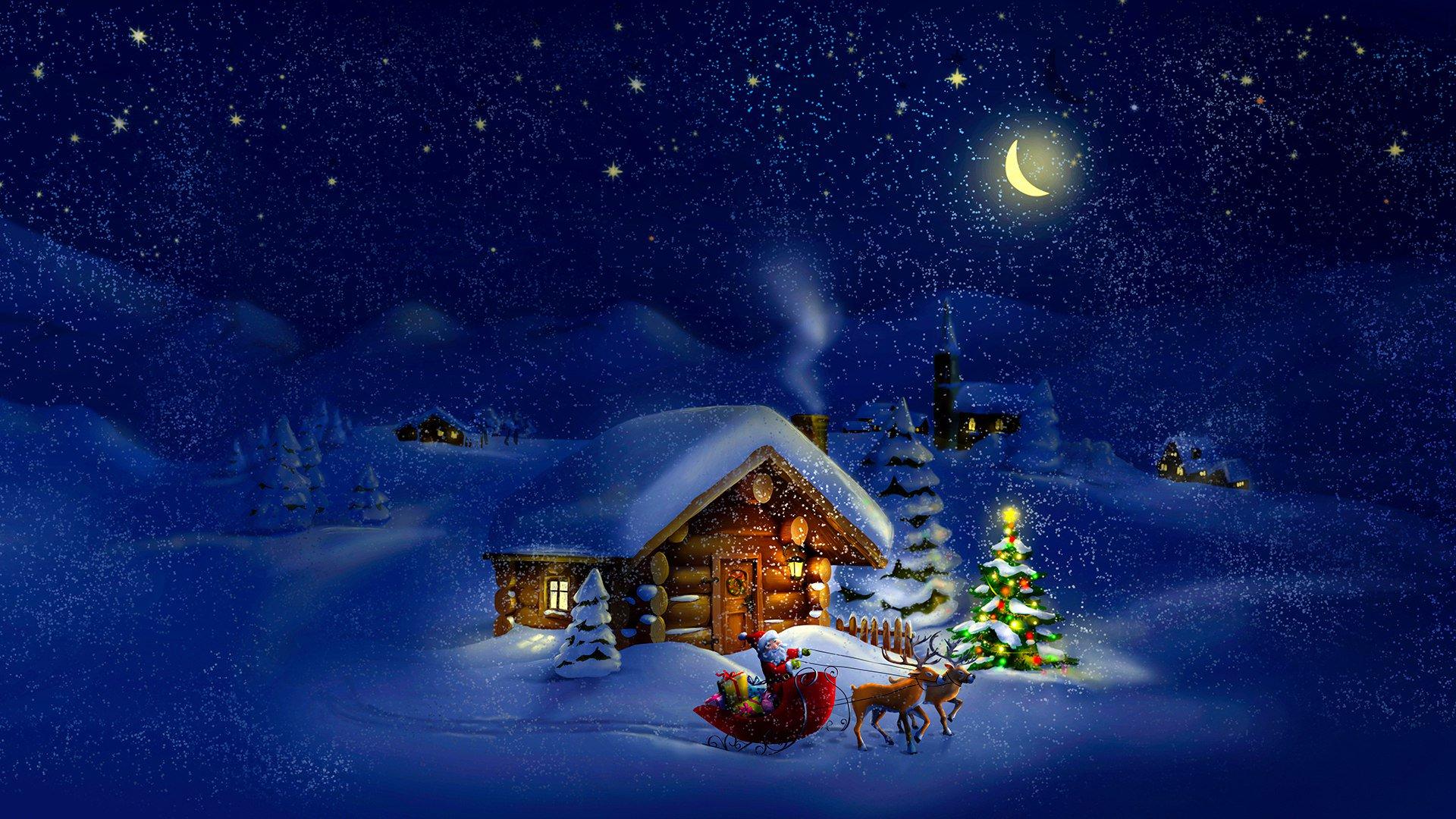 Открытки зимняя ночь, надписью
