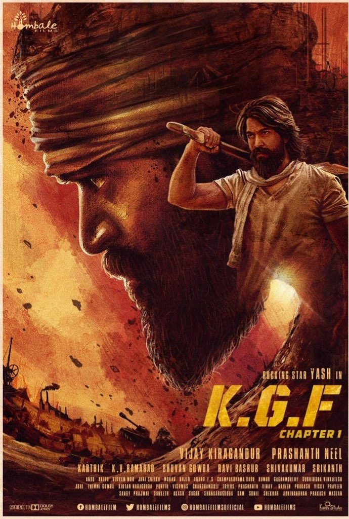 @prashanth_neel 👌🏻👍🏻👏🏻@TheNameIsYash💪🏻👌🏻👍🏻 👏🏻@VKiragandur @hombalefilms #KGF what a Cult Action Thriller😍made by passionate Team #yash  Heroic Performance&screen presence ,Director conviction to present Retro surreal world with Emotion & sentiment,Scale,visuals,BGM Top Notch 👌🏻
