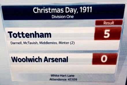 OTD 1911 Christmas Day what a result. Tottenham 5 Woolwich Arsenal 0 #COYS #merryxmas