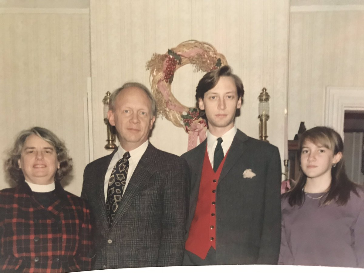 I post this old Christmas photo because I just noticed my pocket square is my sister's hamster.