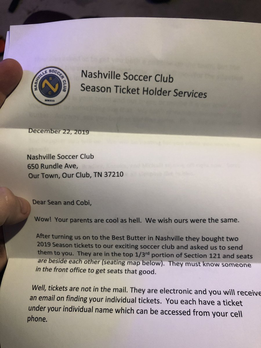 My brother @sslepard and I got Season tickets for the 2019 @NashvilleSC Season. Can't wait for the first game!!!!! #OurTownOurClub #RoadtotheMLS