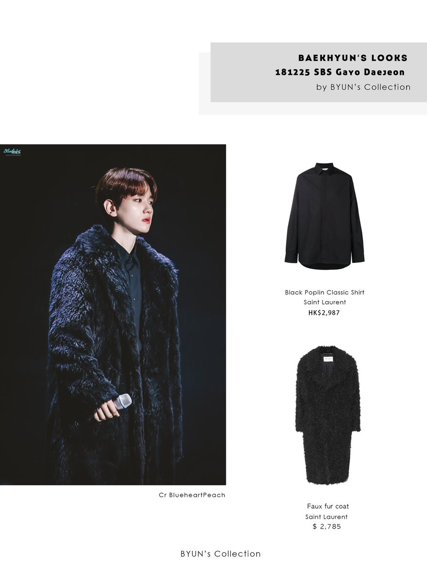 cd9056cca46 181225 SBS Gayo Daejeon Look1 Top | Saint Laurent Black Poplin Classic  Shirt Outer | Saint Laurent Faux fur coat Shoes | Saint Laurent Wyatt  Chelsea boots ...
