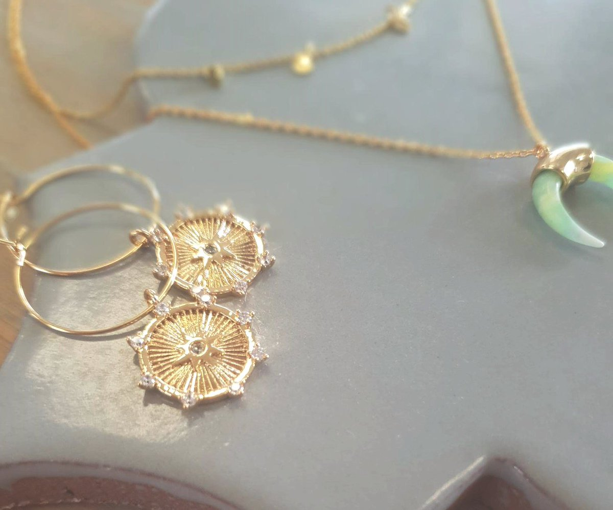 619301176 Includes these stunning Crystal Starburst Coin Hoop Earrings & Mini Coin &  Horn Necklace in Light Agate. #oreliajewellery #boxingday #boxingdaysale ...