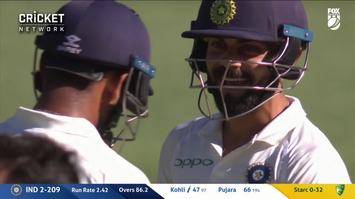 That has done PLENTY!  What about the reactions from Starc and Kohli 😂😂 #AUSvIND https://t.co/9Y1pG9dkKx